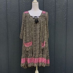 Free People Black & Pink Boho Peasant Dress size M